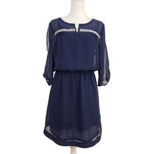 NWT Gap Navy Blue Chiffon Blouson Dress with Slip